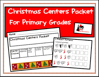 Five free Christmas themed centers that cover math and literacy standards - from Raki's Rad Resources.