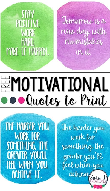 graphic relating to Printable Motivational Quotes named Printable Motivational Rates - Clroom Freebies