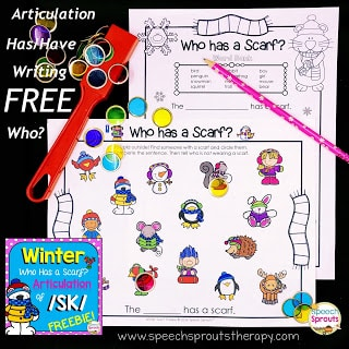 Who Has a Scarf? Articulation and Winter Writing Center Fun