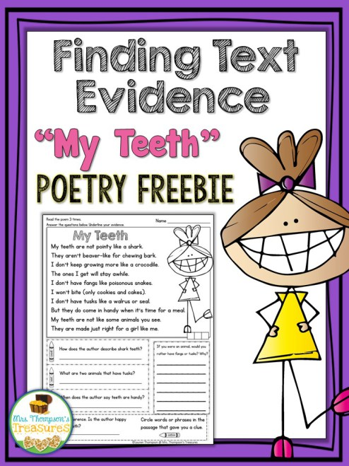 "Free ""My Teeth"" Poem - Comprehension & Text Evidence ..."