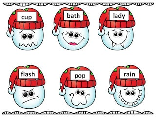 Snowman Compound Words- Winter Reading Center Fun