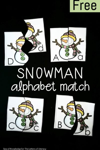 The Letters of Literacy's (Sea of Knowledge) Free Snowman Alphabet Match Puzzles