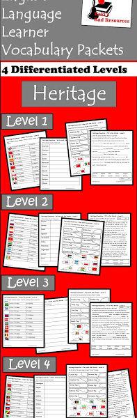 Heritage ESL Vocabulary Packet