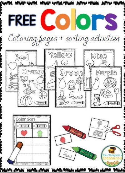 Free Coloring & Sorting Colors Activities