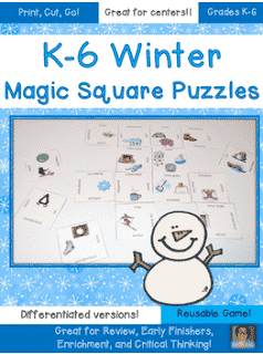 FREE Differentiated Winter Magic Square Puzzles