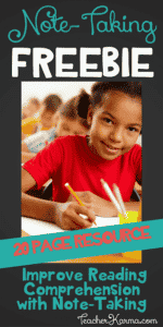 FREE Note-Taking Resource to Improve Reading Comprehension