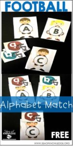 Sea of Knowledge's Free Alphabet Upper and Lowercase Football Matching Cards