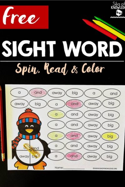 Sea of Knowledge's Free Sight Word Spin Read and Color Penguin Themed