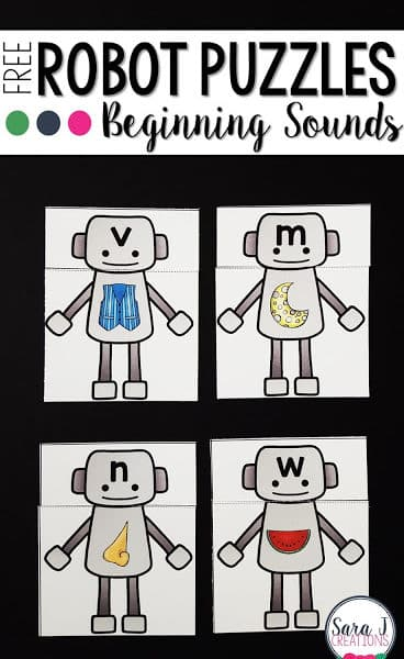 Robot Themed Beginning Sounds Puzzles