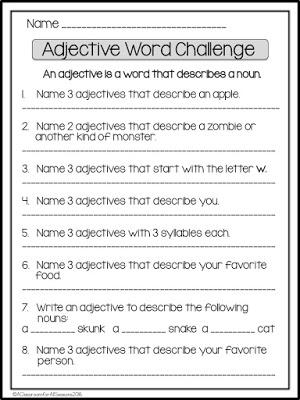 Adjective Word Challenge