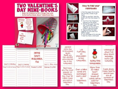This Valentine's Day freebie has 2 mini-books and directions for folding. One mini-book is for the children to write about things they love. The other mini-book is for children to read about Valentine's Day trivia