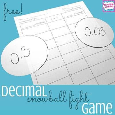 free comparing decimals game
