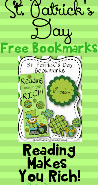 Reading Makes You RICH – Free St. Patrick's Day Bookmarks