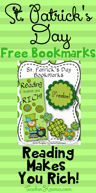 FREE St. Patrick's Day Bookmarks - Reading Makes You Rich - TeacherKarma.com