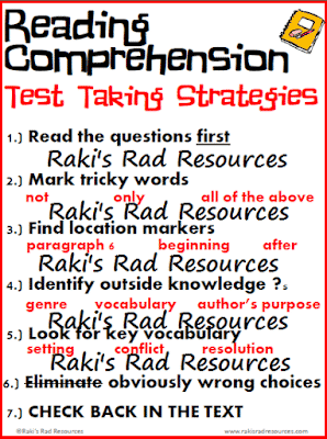Free Reading Comprehension Test Taking Strategies Poster
