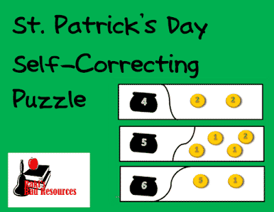Free St. Patrick's Day Self-Correcting Math Puzzle for counting money - from Raki's Rad Resources.