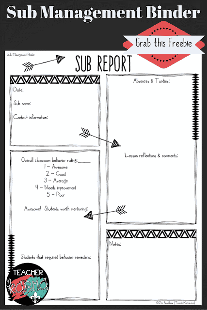 Sub Organizational Binder FREEBIE  so you are fully prepared for the next time you have a substitute in your classroom.  TeacherKarma.com