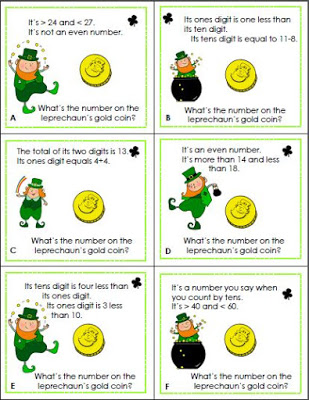 Math Riddle Cards for St. Patrick's Day
