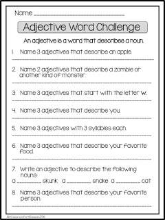 FREE Adjective Word Challenge