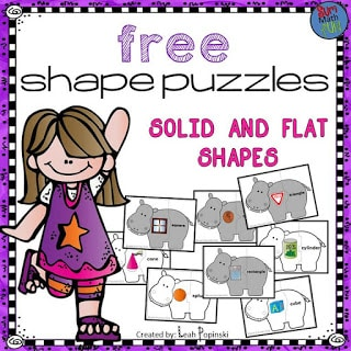 FREE! First and Second Grades Geometry Puzzles