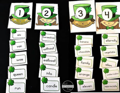 Sea of Knowledge's (123Homeschool4Me) Free St Patrick' Day Syllable Sort