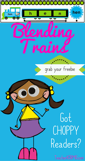 FREE Reading fluency resource to improve choppy reading. Blending Trains TeacherKarma.com