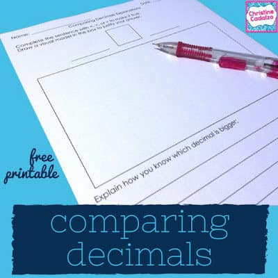 free comparing decimals printable