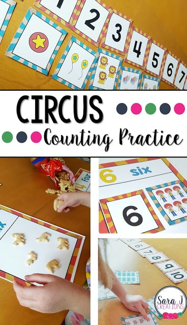 Free counting cards with a circus theme.  Perfect for preschool and kindergarten.