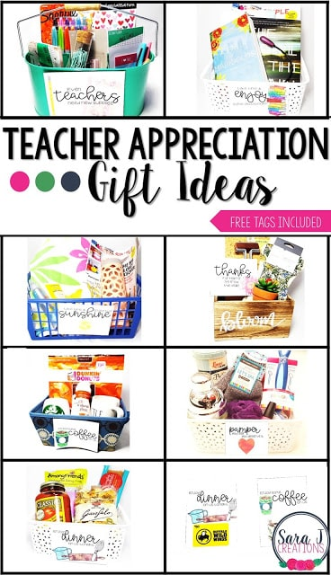 Free teacher appreciation cards and gift basket ideas