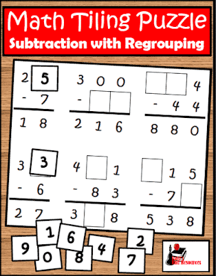 Free Subtraction with Regrouping Tiling Puzzle