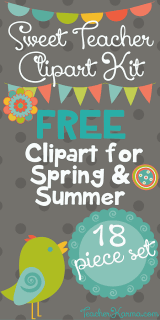 FREE Teacher Clipart Kit for Spring and Summer with Frames, Buntings, Banners, Flowers, and Bird Clipart. TeacherKarma.com