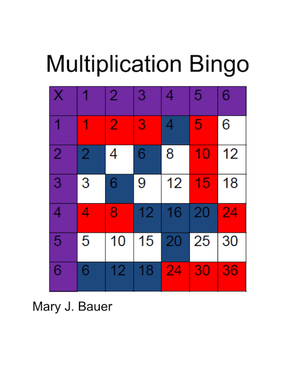 Practice Multiplication Facts with Multiplication Bingo