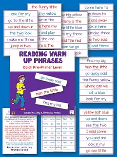 Reading warm up phrases: Experts recommend that young readers practice sight words in phrases. This freebie uses the Dolch pre-primer list.