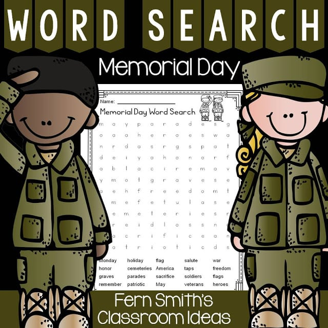 Fern Smith's Classroom Ideas Free Memorial Day Word Search & Answer Key at TpT