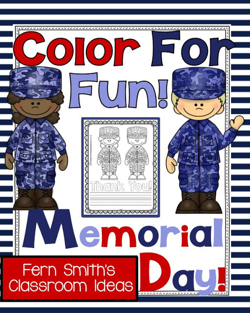 Fern Smith's Classroom Ideas Memorial Day Color for Fun Coloring Pages and Thank You Stationary Freebie at TeacherspayTeachers!