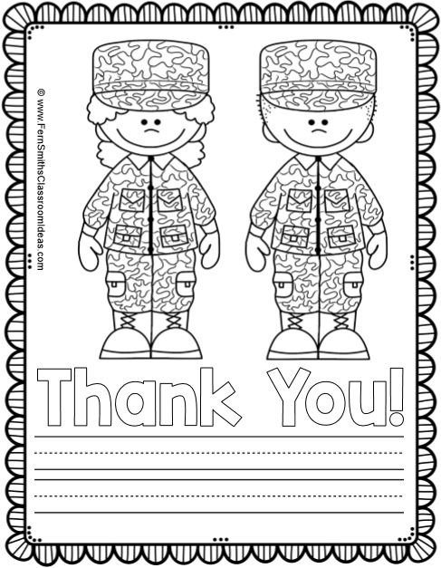 Fern Smith's Classroom Ideas Memorial Day Color for Fun Coloring Pages and Thank You Stationary Freebie at TpT!