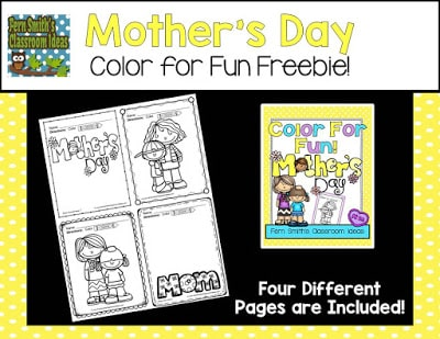 Four Free Coloring Pages for Some Mother's Day Fun at ClassroomFreebies from Fern Smith's Classroom Ideas