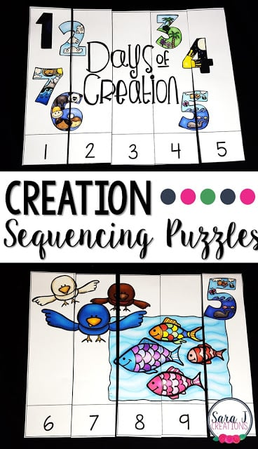 FREE Creation Sequencing Puzzles are perfect for preschool and kindergarten to teach The Creation Story and practice counting and sequencing numbers.