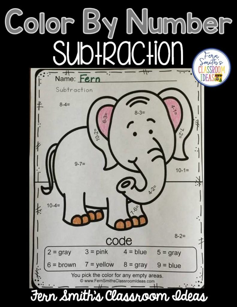 Free Color By Numbers Mixed Subtraction, Your students will adore this Awesome Animals Color Your Answers Worksheet for Mixed Subtraction. The answer key is also included, terrific for an Emergency Sub Tub or Homework! Fern Smith's Classroom Ideas
