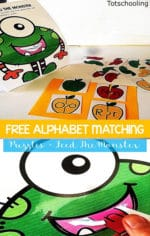Sea of Knowledge's (Toschooling) Free Feed the Monster Alphabet Puzzles
