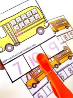 Sea of Knowledge's Free Counting to Ten School Bus Clipping Cards