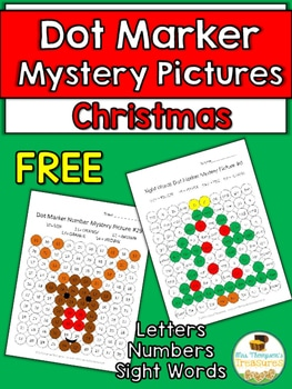 Free Christmas Mystery Pictures (Letters, Numbers, Sight Words)