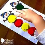 Sea of Knowledge's Free Montessori Snowman Color Matching Activity