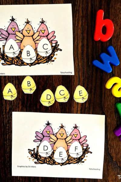 Sea of Knowledge's (Totschooling) Alphabet Matching Uppercase Lowercase Easter Chicks Free