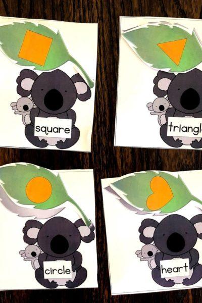 Sea of Knowledge's (Totschooling) Free Alphabet and Shape Match Puzzles Koala Theme