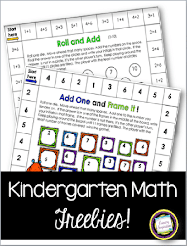 Easy Prep Math Games for Kindergarten