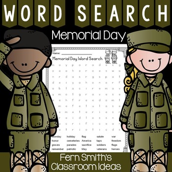 Memorial Day Word Search Freebie