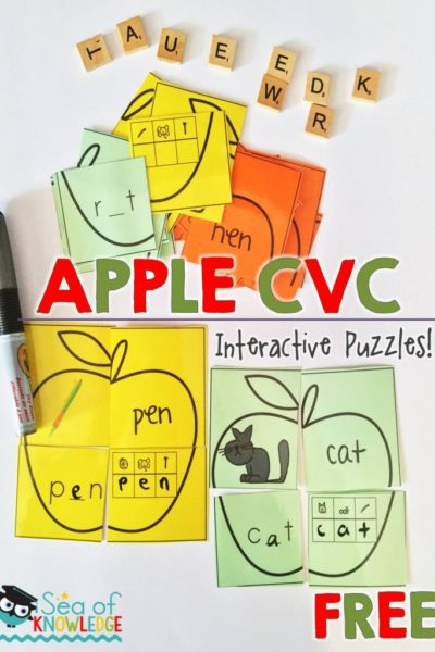 Apple Theme CVC Puzzle Match Cards – Sea of Knowledge