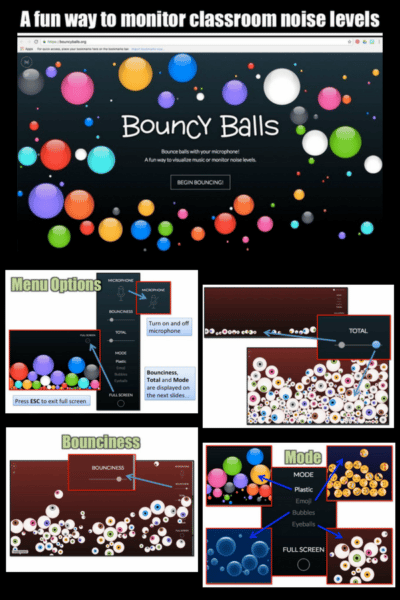 Monitor Classroom Noise with Bouncyballs.org