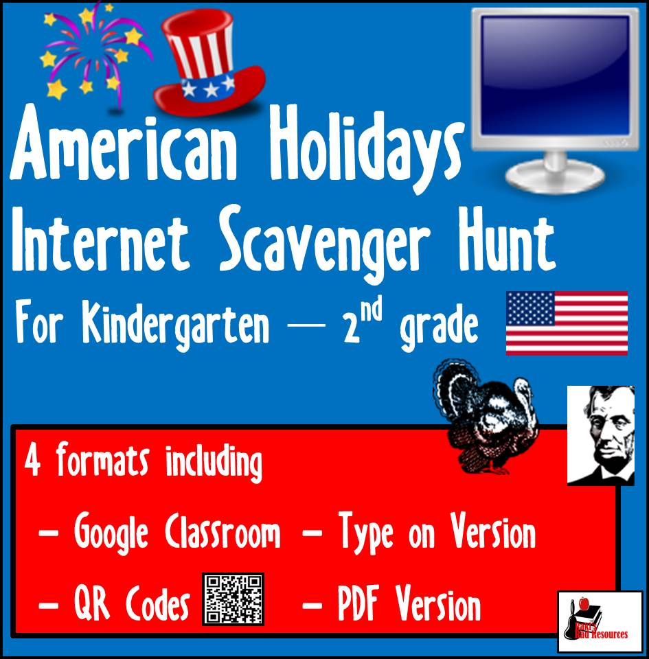 American Holiday Internet Scavenger Hunt for primary students